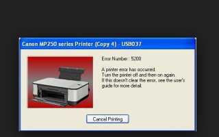 Решение ошибки 5200 в принтере Canon mp250, g3400, mp280, mp270, g1400 и других