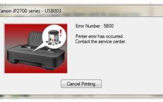 Сброс памперса (абсорбера) принтера Canon (ошибка 5b00): причины проблемы, как исправить